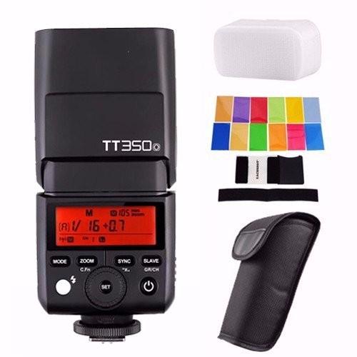 Godox TT350O 2.4G HSS 1/8000s TTL GN36 Camera Flash Speedlite for Olympus / Panasonic Mirrorless Digital Camera+Filters+Diffuser in stock godox mini speedlite tt350 tt350o camera flash ttl hss gn36 for olympus panasonic mirrorless dslr camera