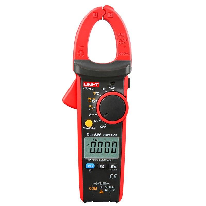 UNI-T UT216A/UT216B/UT216C/UT216D 600A True RMS Digital Clamp Meters; Digital Ammeter, Resistor/Capacitor/Frequency/NCV Test