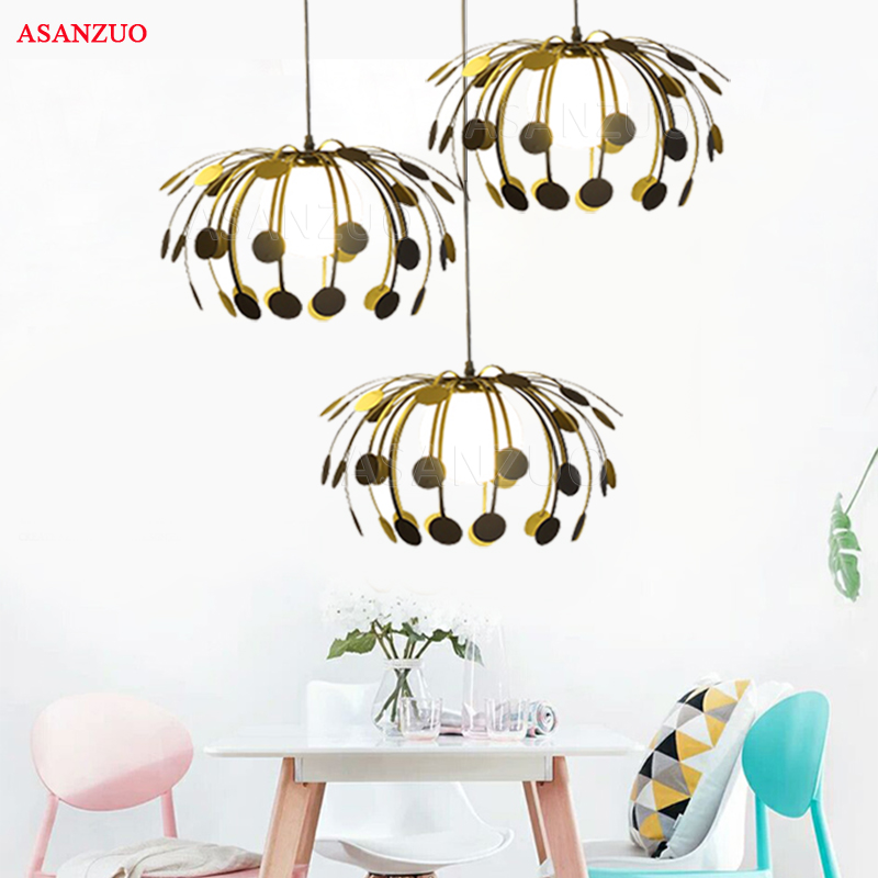 Nordic post-modern minimalist restaurant pendant light personality creative 1/3 heads wrought iron Hanging lamp nordic pendant lights contracted metal led pendant light bedroom restaurant pendant lamp creative wrought iron modern lighting