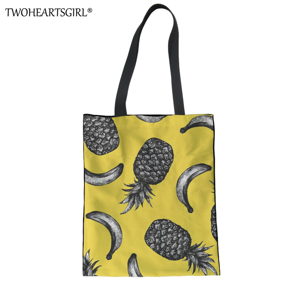 TWOHEARTSGIRL Pineapple Prints Women Canvas Yellow Handbag Fun Design Girls Shopping Beach Bag Function Travel Shoulder Tote Bag