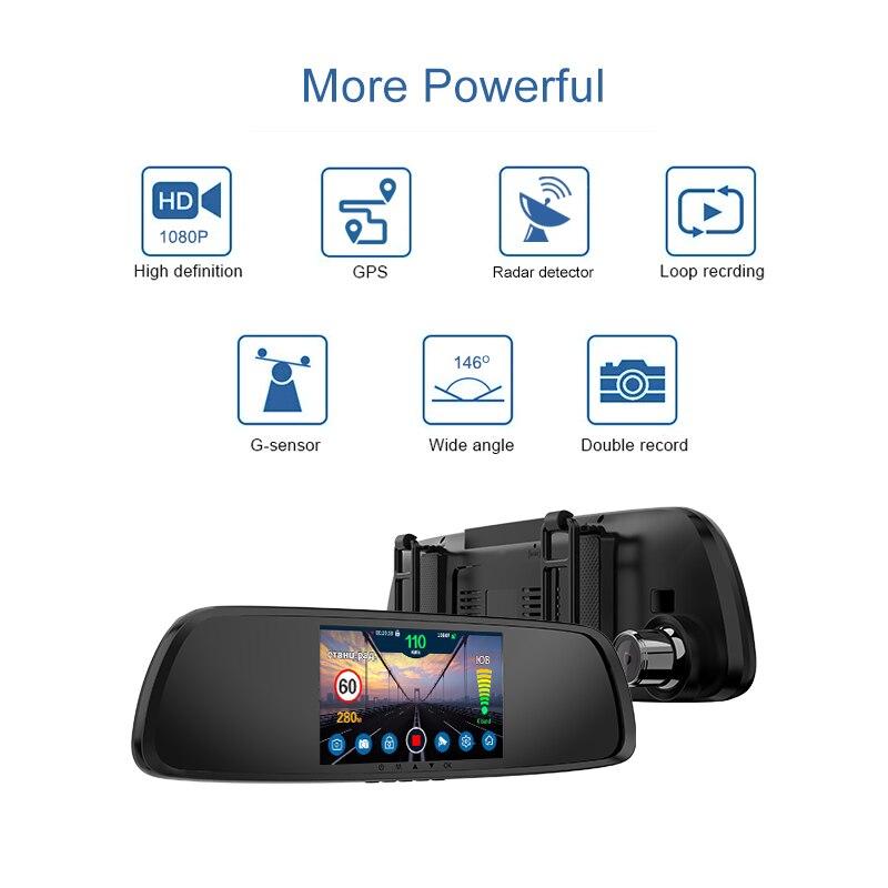 XPX Auto dvr 3 in 1 G616 STR Dash cam Full HD rückansicht kamera GPS Radar detector DVR Antiradar Rück spiegel Auto kamera Rekord - 2