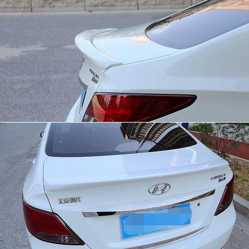 For Hyundai Verna accent Spoiler ABS Material Car Rear Wing Primer Color Rear Spoiler For Hyundai Verna Spoiler 2010-2015 for lancer spoiler evo abs material car rear wing primer color rear spoiler for mitsubishi lancer evo spoiler 2010 2014