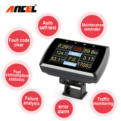 Ancel A501 HUD Display OBD2 On-board Computer For Car speedometer Fuel Consumption Projector OBD2 Digital Meter Head Up Display