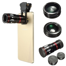 Discount! Universal 4 in1 10x Zoom Telescope Lens Telephoto Fish Eye Wide Angle Micro Lens Clip-on Mobile Phone Camera Len Kit For Samsung