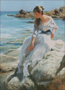 Image 2 - سيدة الجلوس على الصخور عد عبر عدة خياطة DIY اليدوية تطريز للتطريز 14 ct عبر الابره مجموعات DMC اللون