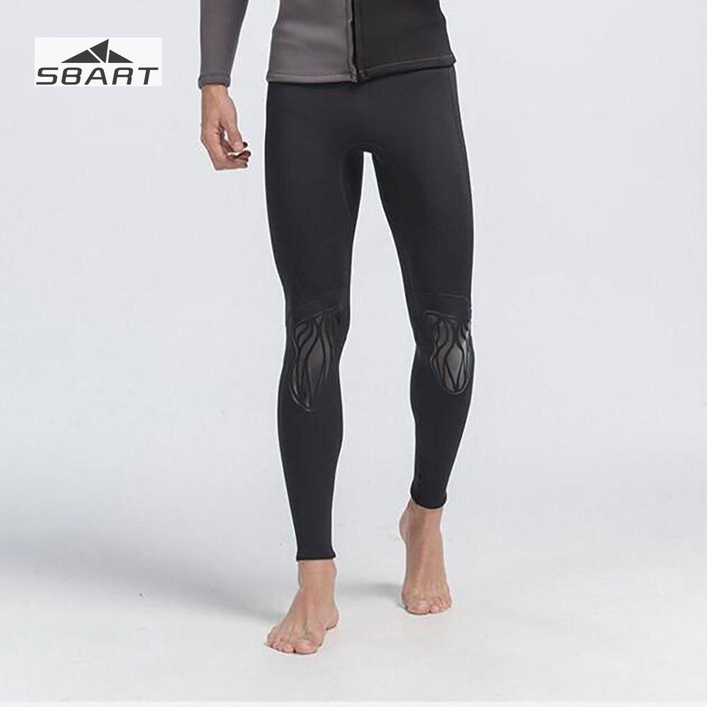Sbart Mens 3mm Neoprene Black Anti-UV Diving Pants for Diving Swimming Snorkeling with Elastic Thermal