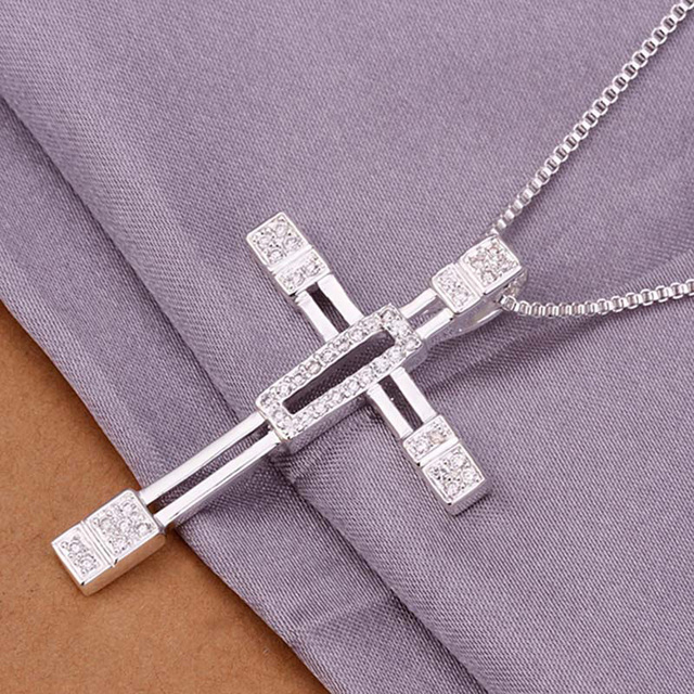 Hot sale multi crystal inlaid silver cross pendant necklaces 925 hot sale multi crystal inlaid silver cross pendant necklaces 925 sterling silver jewelry men necklaces mozeypictures Gallery