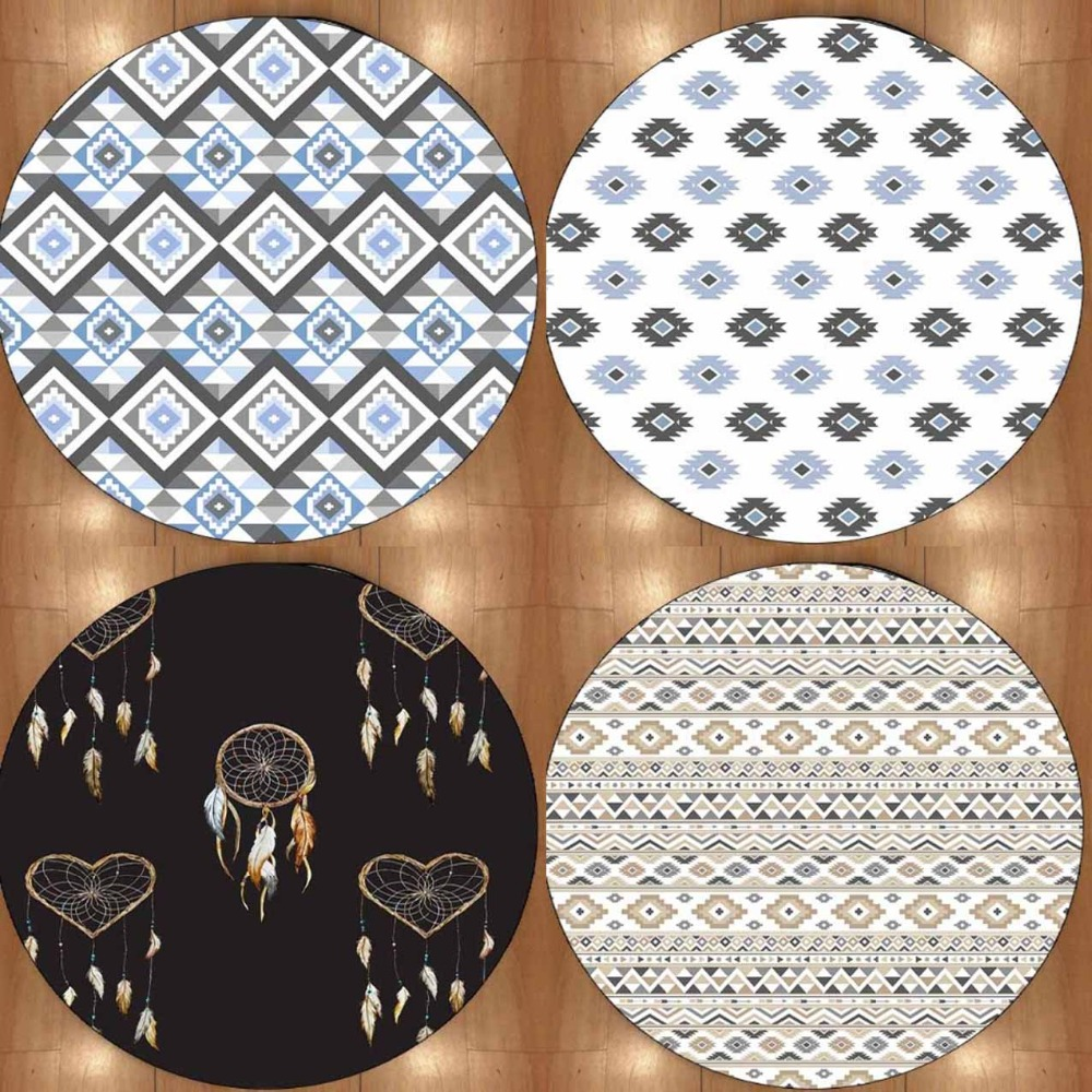 Else Ethnic Tales Geometric Blue Gray 3d Non Slip Microfiber Round Carpets Area Rug For Living Rooms Kitchen Bedroom Bathroom