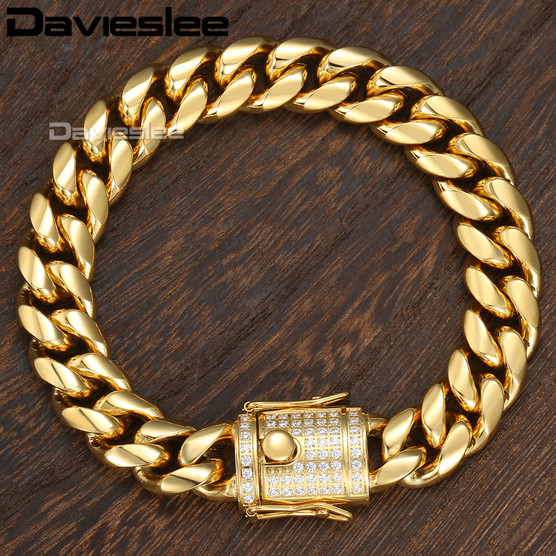 все цены на Davieslee Miami Curb Mens Bracelet Chain Iced Out Cubic Zirconia CZ 316L Stainless Steel Gold Silver Color 12/14mm 9inch DHBM113 онлайн