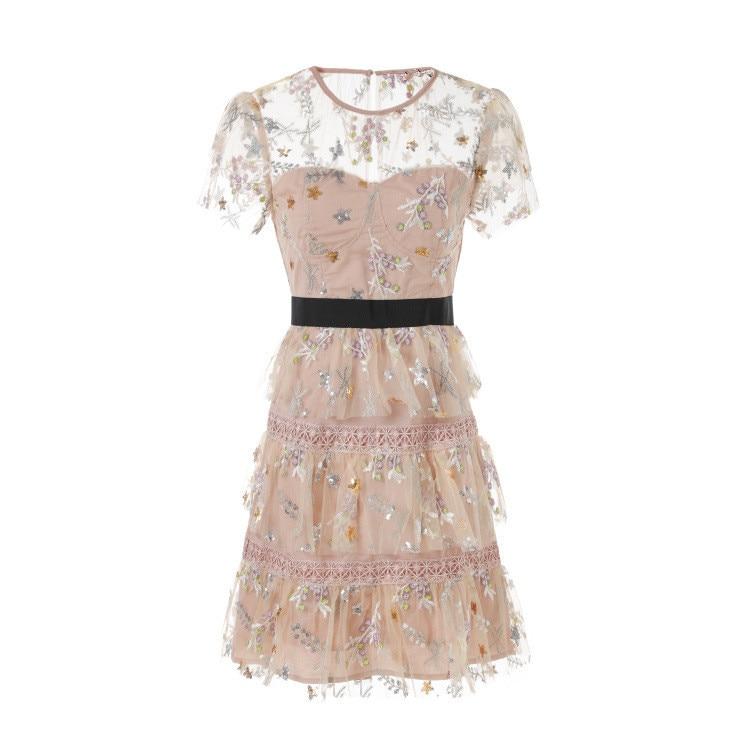cb30e79293 Blusas de mujer de moda 2018 albaricoque manga corta Cascading Ruffles Mini mujeres  vestido Sheer Mesh bordado lentejuelas Mini vestido