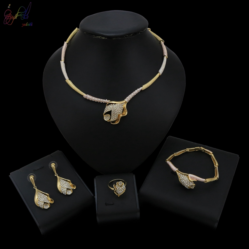 Yulaili Three Fresh Rose Gold Color Flower Crystal High Quality Necklace Bracelet Earrings Ring Jewellery Jewelry Set For Women