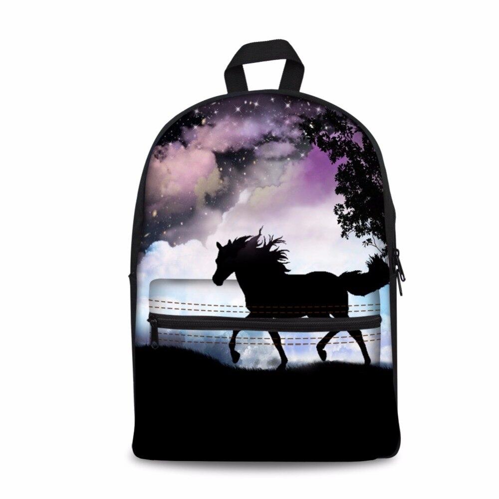 Moonlight Horse Printing Backpack School Bags Teenager Girls Boys Students Schoolbag Bookbag Packbag Kids Mochila Escolar 2018