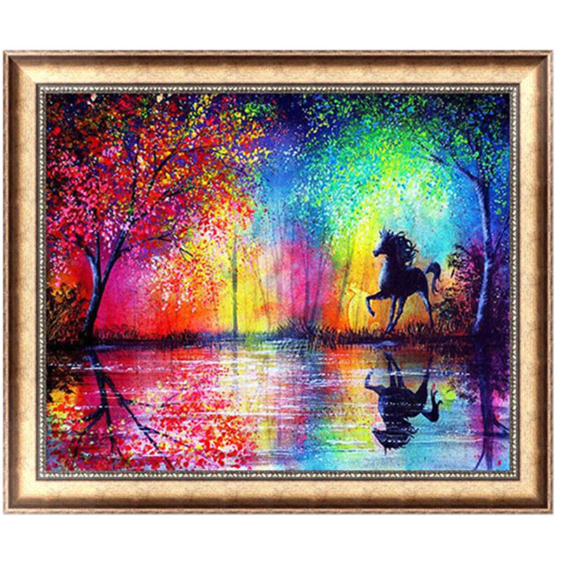 Horse 5D Diamond Embroidery Painting Cross Stitch DIY Craft Mosaic 40cm*30cm