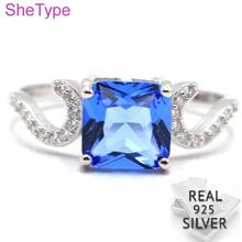 US sz 9.25# SheType Elegant 2.33g Rich Blue Violet Tanzanite CZ Gift For Girls Real 925 Solid Sterling Silver Rings 20x8mm