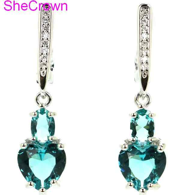 SheCrown Heart Shape Rich Blue Aquamarine Gift For Sister Silver Earrings 34x8mm