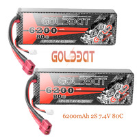 2unit GOLDBAT 2S RC Battery Lipo Drone Lipo Battery 7.4V 80C 6200mAh Pack With Deans Plug For RC Car Truck Helicopter FPV RACING