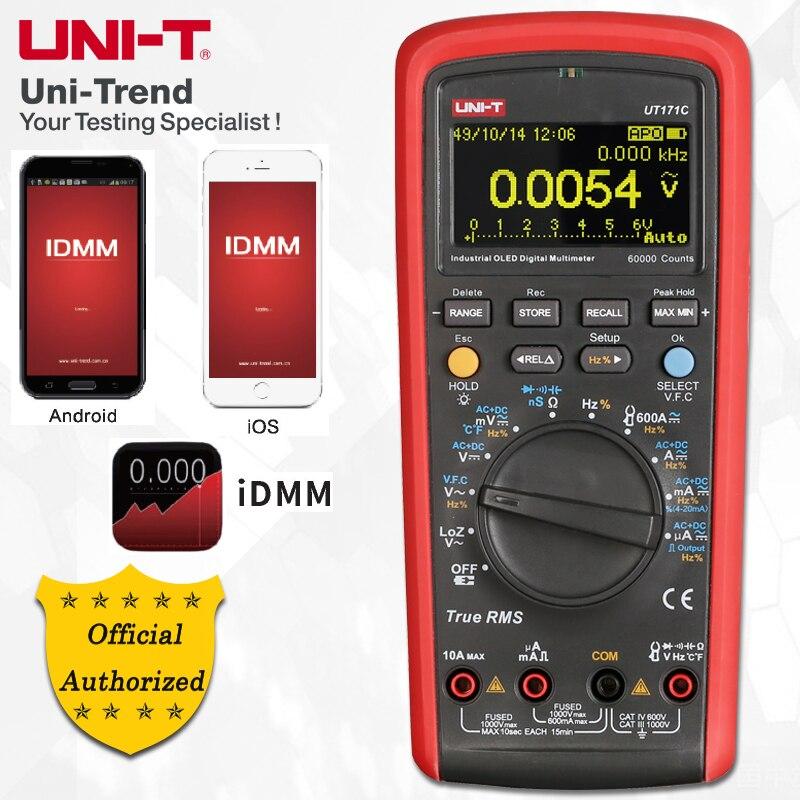UNI-T UT171A/UT171B/UT171C True RMS Industriais Multímetros Digitais; VFC Medição, USB/Bluetooth Comunicação