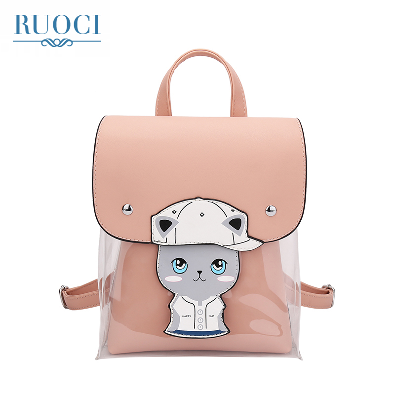 RUOCI Cartoon Print Womens PVC+PU Leather Backpack School Bags Teenage Girls Backpacks for Women High Quality Ladies Bagpack