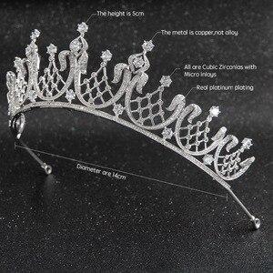 Image 2 - קלאסי גבישי CZ מעוקב Zirconia חתונת כלה מלכותי נזר נזר כתר נשים לנשף שיער תכשיטי אביזרי CH10252