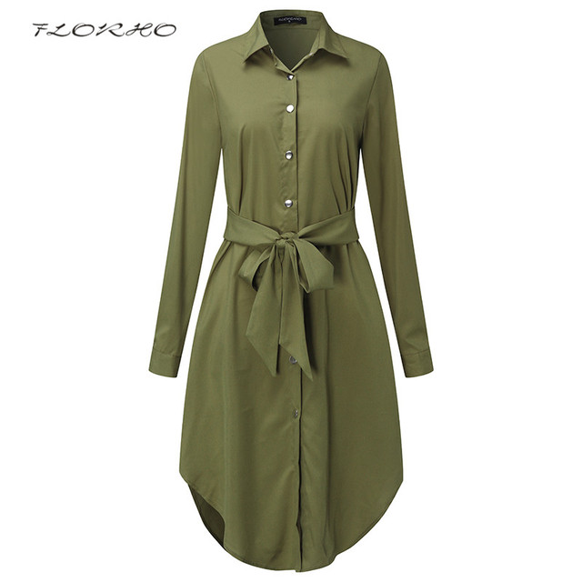 58bfdfeed546 Autumn Belted Blouse Shirt Dress Women Solid Color Midi Female Dresses Long  Sleeve Oversized Casual Clothes Tunic Plus Size 5XL