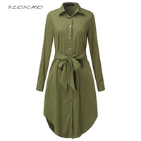 Autumn Belted Blouse Shirt Dress Women Solid Color Midi Female Dresses Long Sleeve Oversized Casual Clothes