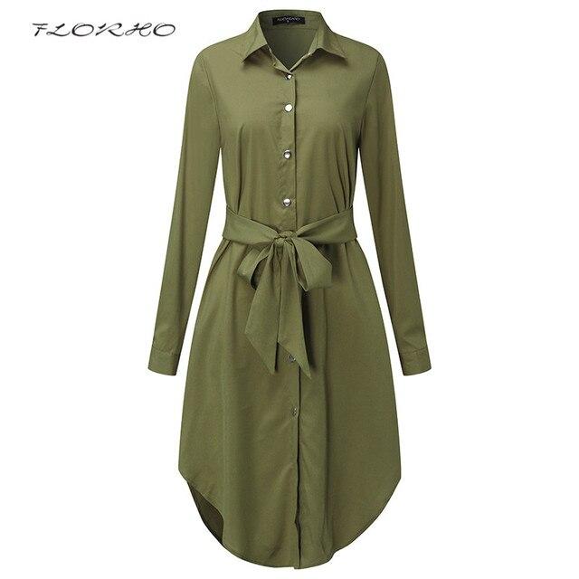 Осень поясом блузка рубашка платье Для женщин Сплошной Цвет Midi женский Платья для женщин с длинным рукавом За Размеры D Повседневная одежда туника плюс Размеры 5XL