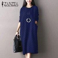 ZANZEA Autumn Vintage Women O Neck Long Sleeve Long Shirt Vestido Casual Pockets Midi Dress Loose