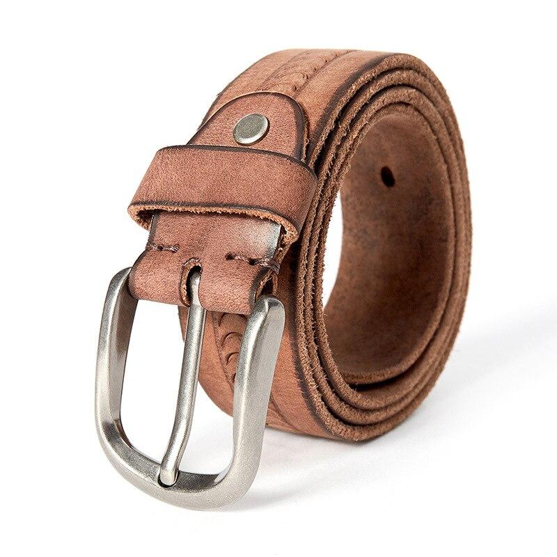 DISIWEI Vintage Véritable Gaufrage cuirs lavé alliage boucle ceinture hommes boucle ardillon en cuir de vache ceinture de mâle brun orange gris