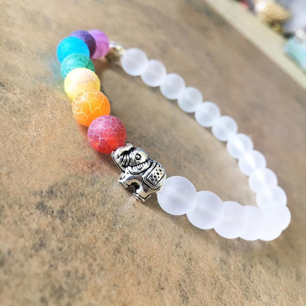 Для женщин ручной работы многоцветный камень Бусины и бисер браслет сплав Слон браслет ювелирных изделий