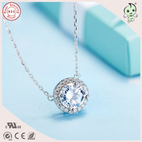 Popular Simple Round Zircon Stone Pendant 925 Sterling Silver Pendant Necklace
