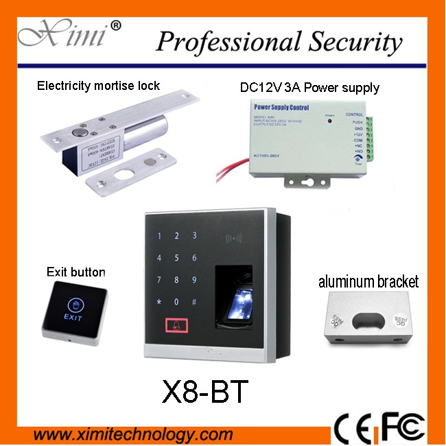Biometric fingerprint access control system X8 - BT, has a touch exit button, 12V3A power supply and RFID access control system