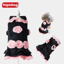 Hipidog Autumn/Winter Fashion Pink Black Dog Sweater Princess Floral Sweaters for Small Medium Dogs Puppy Clothing Supplies