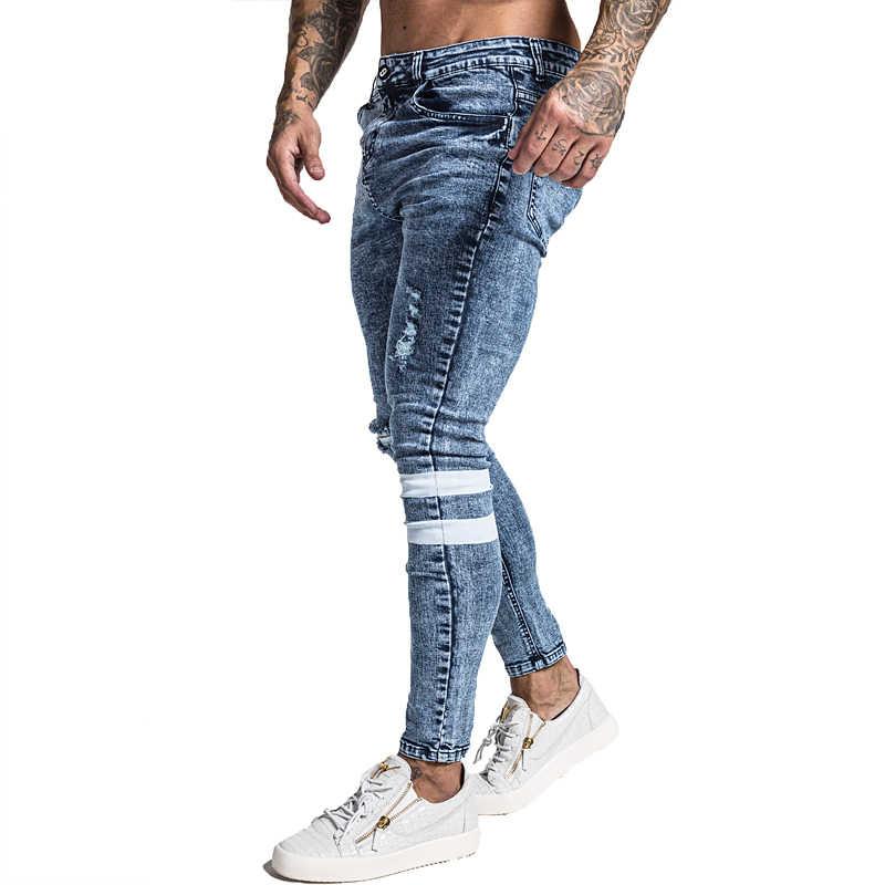 Gingtto мужские обтягивающие джинсы Рваные зауженные джинсы Большие и высокие эластичные синие джинсы для мужчин с потертой эластичной талией 32 ноги 30 zm49