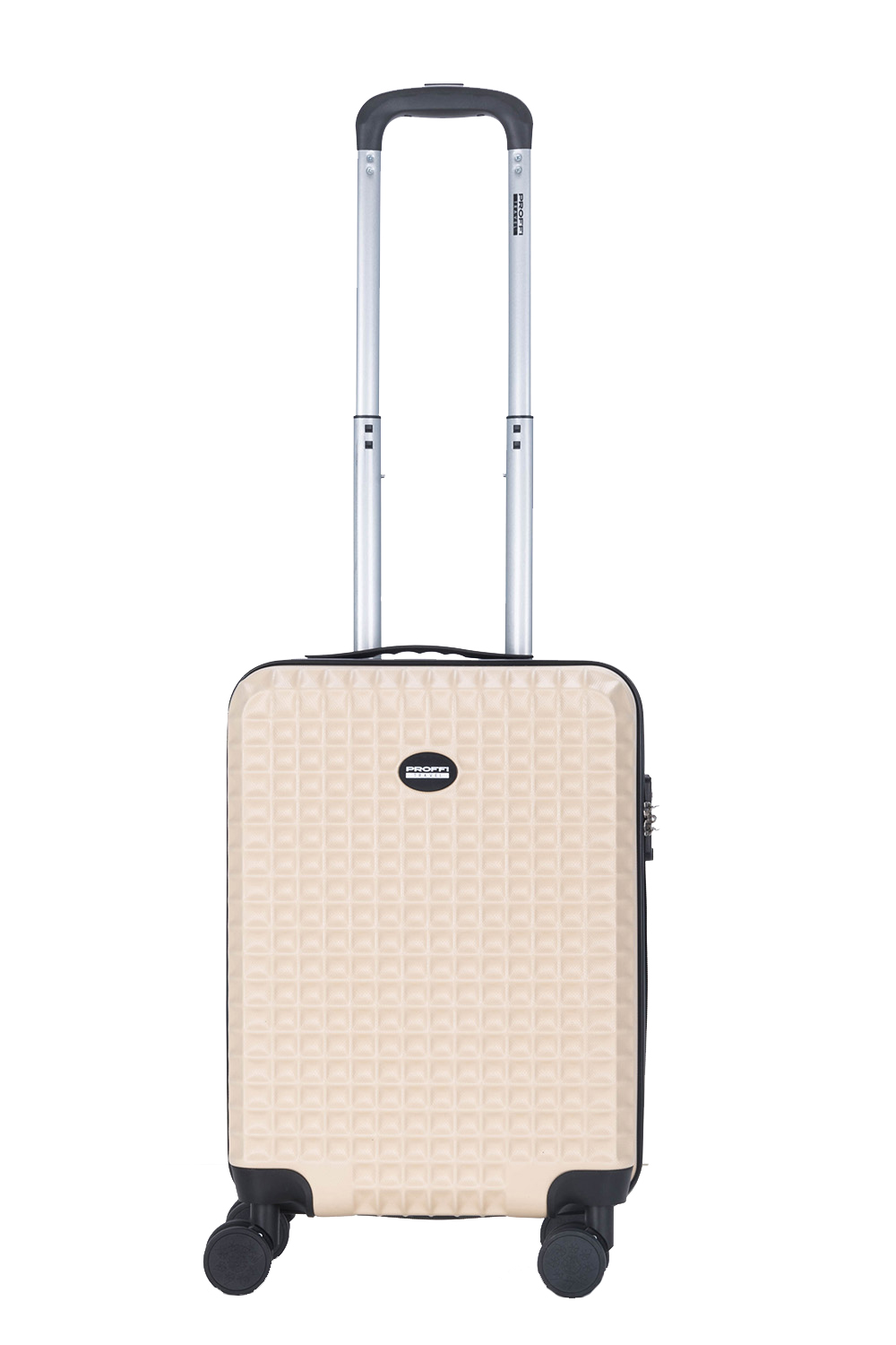 Plastic suitcase PROFFI TRAVEL Tour Quattro Smart PH9689, with built-in weighs and USB, beige, M [available from 10 11] black suitcase profi travel ph8865 m plastic with retractable handle on wheels