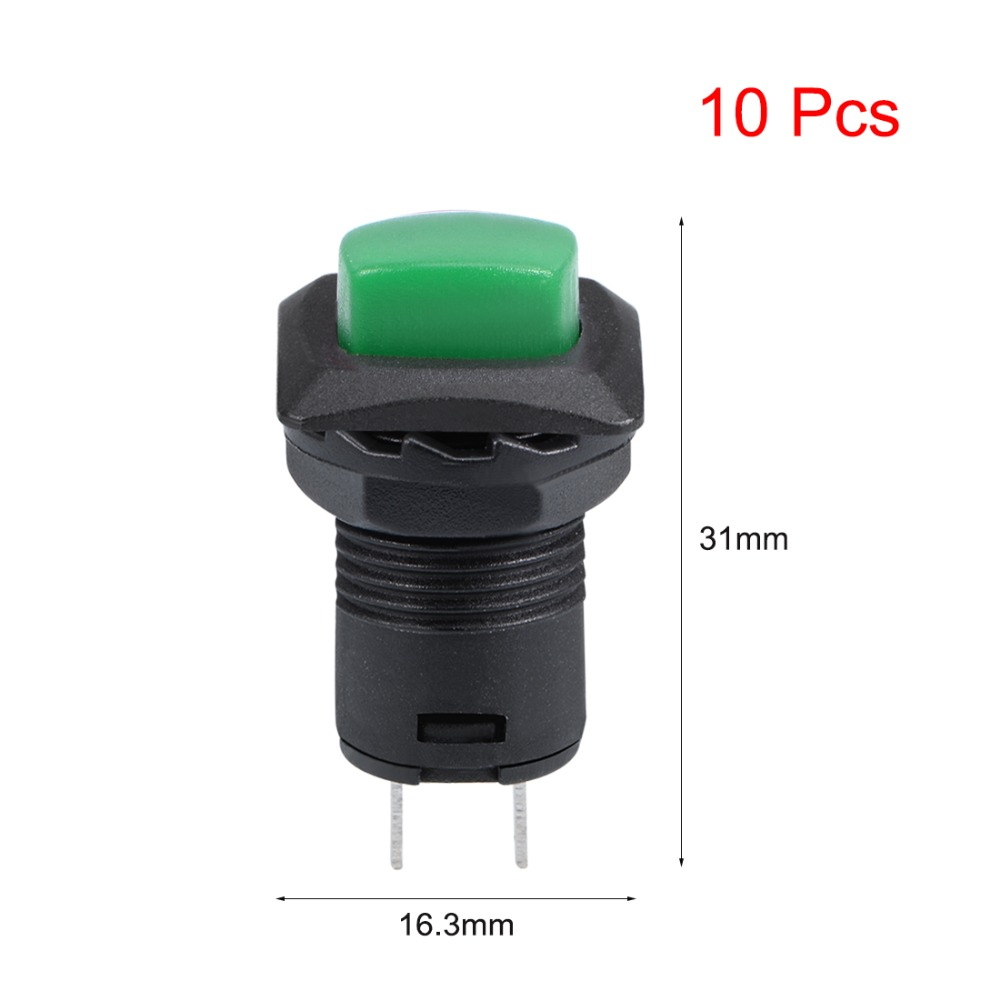 UXCELL 10Pcs 12mm Momentary Switches Plastic Mini Round Push Button Switch SPST Nomally Open Electrical Equipment Green Or Red in Switches from Lights Lighting