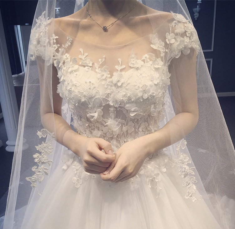 Tailles personnalisées Train blanc robe pour femmes Split 3D dentelle Slash cou mariage grande taille plage Vestido 2019 femmes vêtements OWD193016 - 3