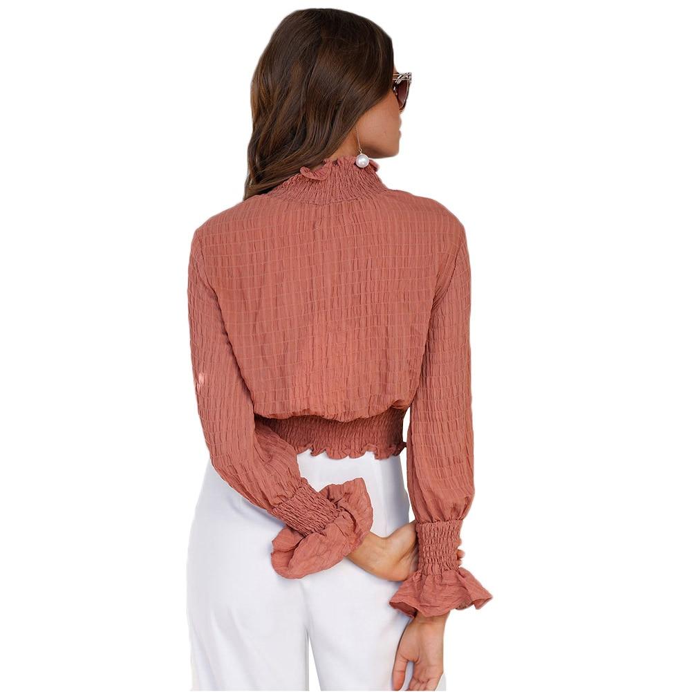 Vintage Office Lady Chiffon Blouse Sweet Long Butterfly Sleeve High Collar Shirt Work Wear Silk One Piece Shirt Body Tops