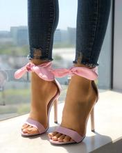 Pink Color Sandals Gladiator Women Peep Toe Thick Strap Ankle Tie Stiletto Sandals Mujer Thin High Heels Shoes For Wedding Party