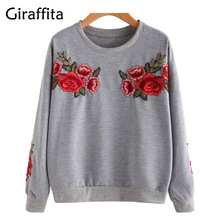 Women Embroidery Floral Sweatshirts Black GreyLong Sleeve Elegant Warm Winter Pullover Vintage O-neck Casual Tops