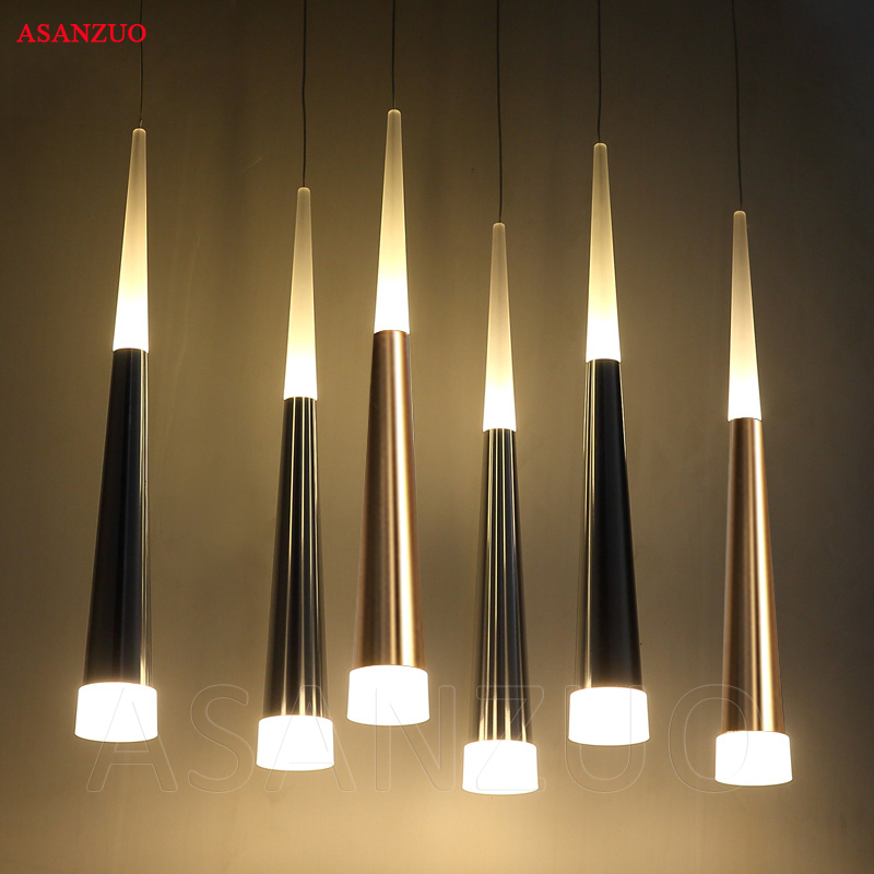 Modern Led Conical Pendant Lights Many Heads Aluminum Acrylic Dining Room  Living Room Bar Cafe Hanging Lamp