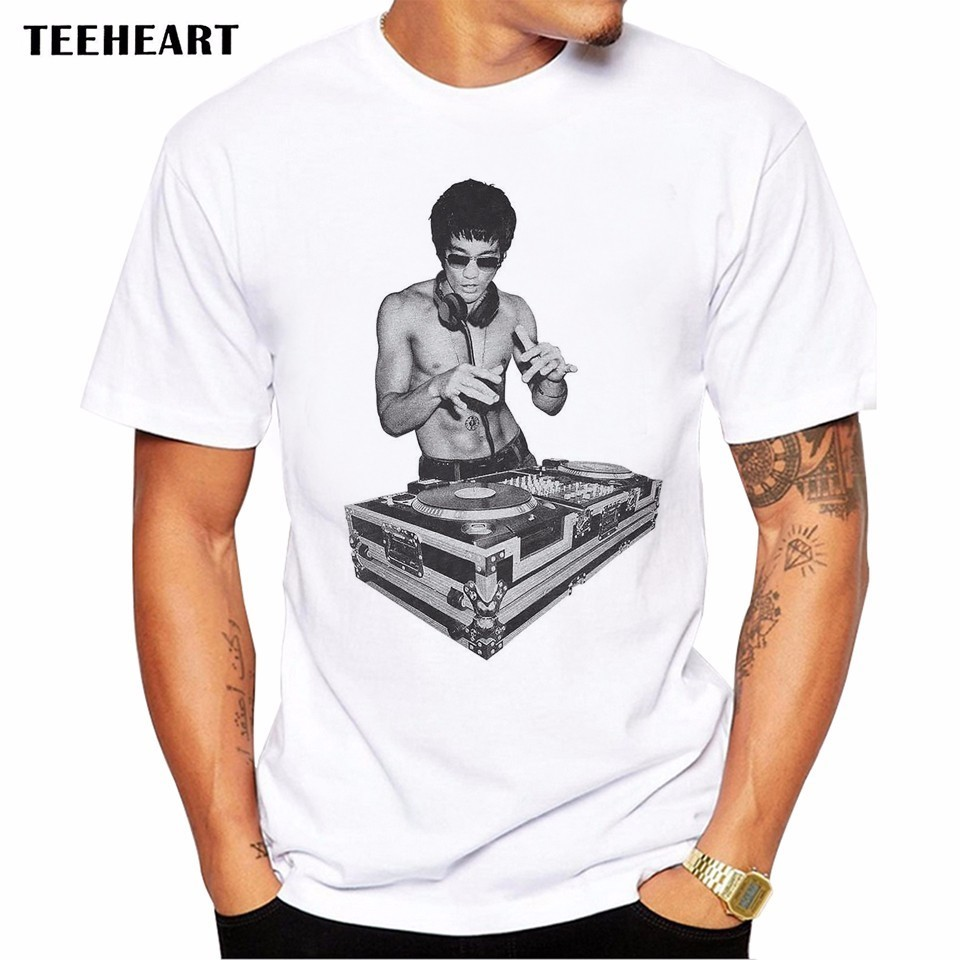 2017 Funny DJ Bruce Lee Men T-Shirt Short Sleeve Casual Tops Hipster streetwear Printed Male Fashion T Shirts Funny Tee