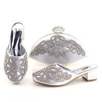 Silver shoes and bag to match women party african italian design shoe and bag african shoes bag set low heel 2 inches SB8202 1