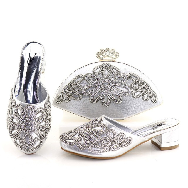 aac5b3dea2030 Silver shoes and bag to match women party african italian design shoe and  bag african shoes bag set low heel 2 inches SB8202-1
