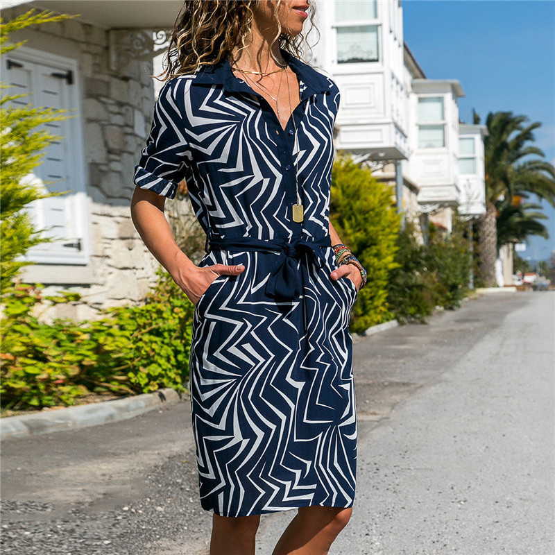 Long Sleeve Shirt Dress 19 Summer Boho Beach Dresses Women Casual Striped Print A-line Mini Party Dress Vestidos 20