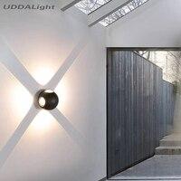 현대 위아래 LED 알루미늄 벽 램프 IP65 정원 벽 조명 야외 조명 발코니 복도 전면 도어 장식 램프