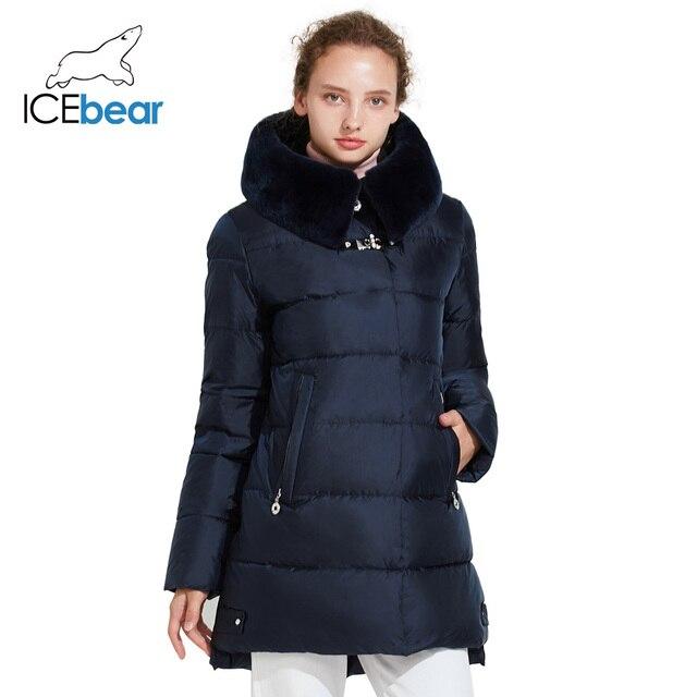 ICEbear 2017 Модная зимняя женская куртка с натуральным мехом фирменная парка средней длины высокого качества 17G6535