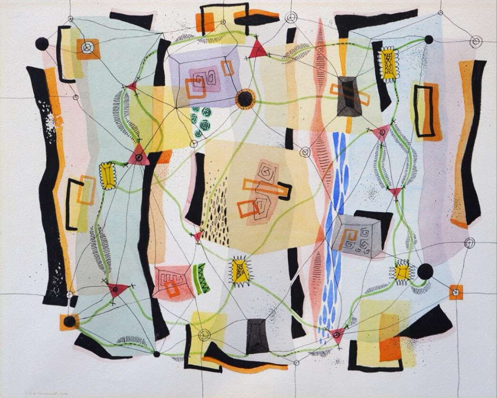 High quality Oil painting Canvas Reproductions Fluctuating Planes (1952)  by Jock Macdonald  hand paintedHigh quality Oil painting Canvas Reproductions Fluctuating Planes (1952)  by Jock Macdonald  hand painted