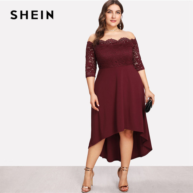 00de383fc4 SHEIN Elegant Off The Shoulder High Waist Women Plus Size Lace Dresses 2018  Slash Neck Asymmetrical Hem Party Solid Dress New