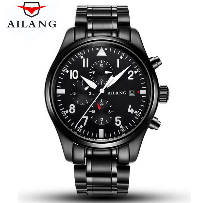 AILANG Watch sapphire crystal luxury mechanical men luminous waterproof watch male military watch silver date watch crystal