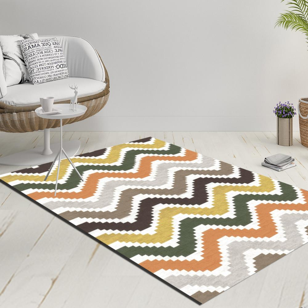Else Orange Yellow Gray Verev Lines Geometric 3d Print Anti Slip Kilim Washable Decorative Kilim Rug Modern Carpet